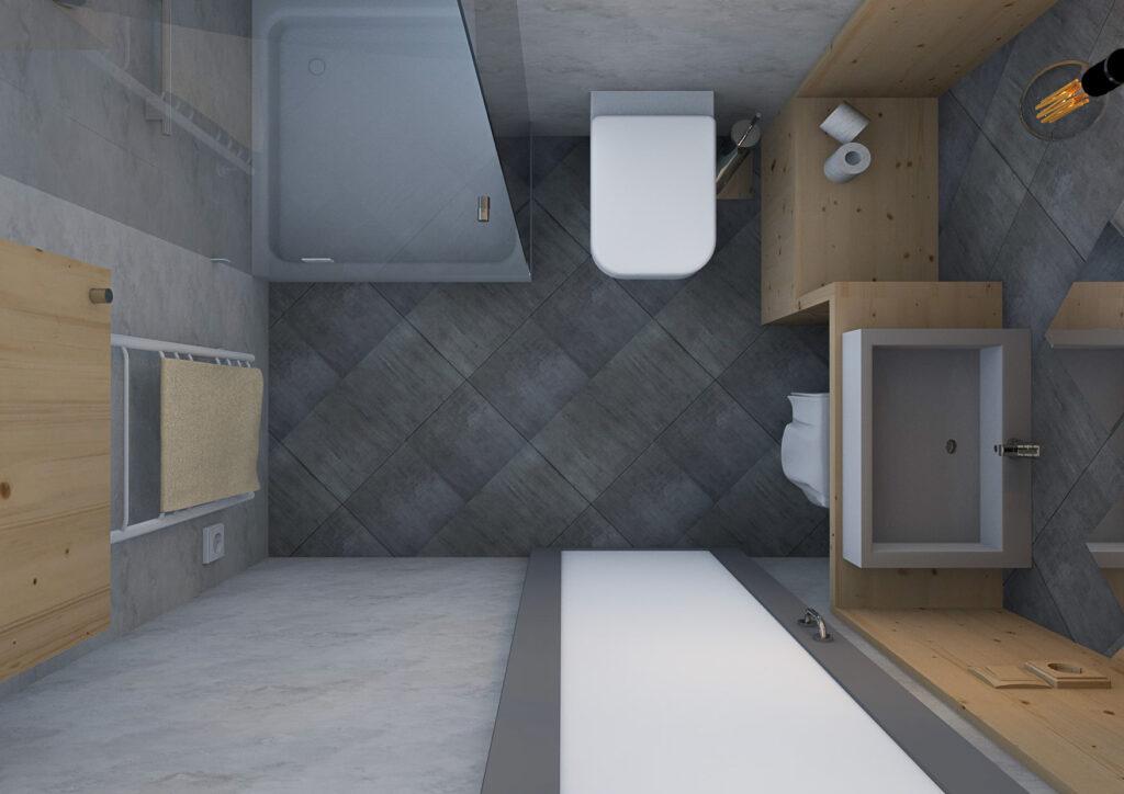 интериорен дизайн на малка баня - арх. Рая Боюкова